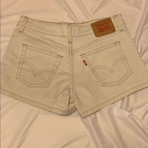 Levi's Superlow Stretch Off-White Jean Shorts
